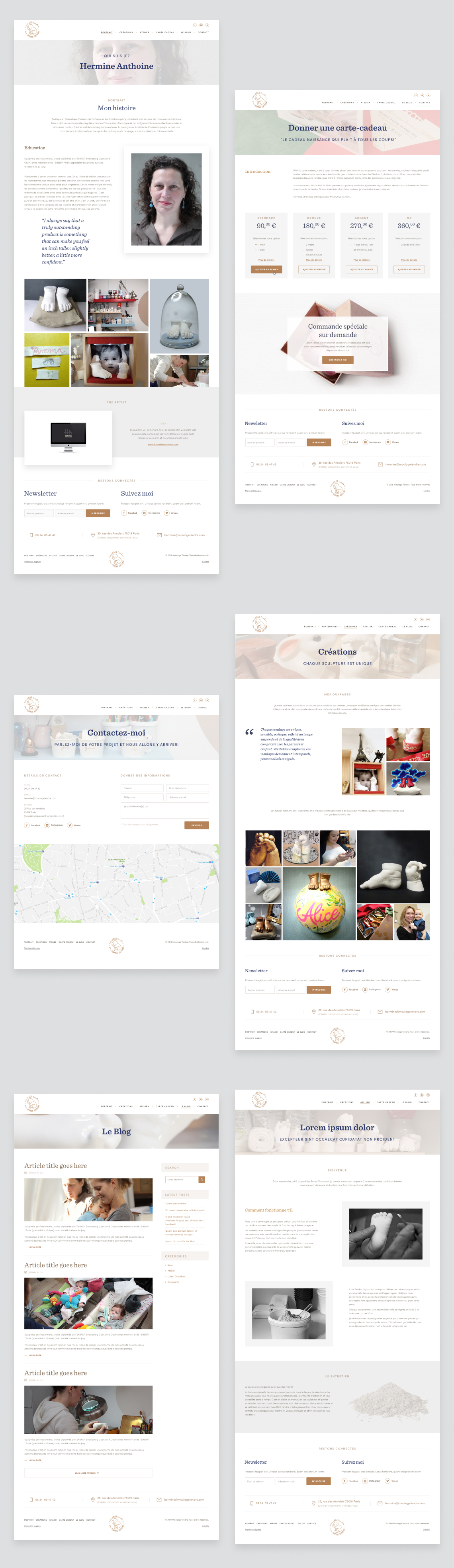 Moulage Tendre - internal pages, business website for Hermine Anthoine