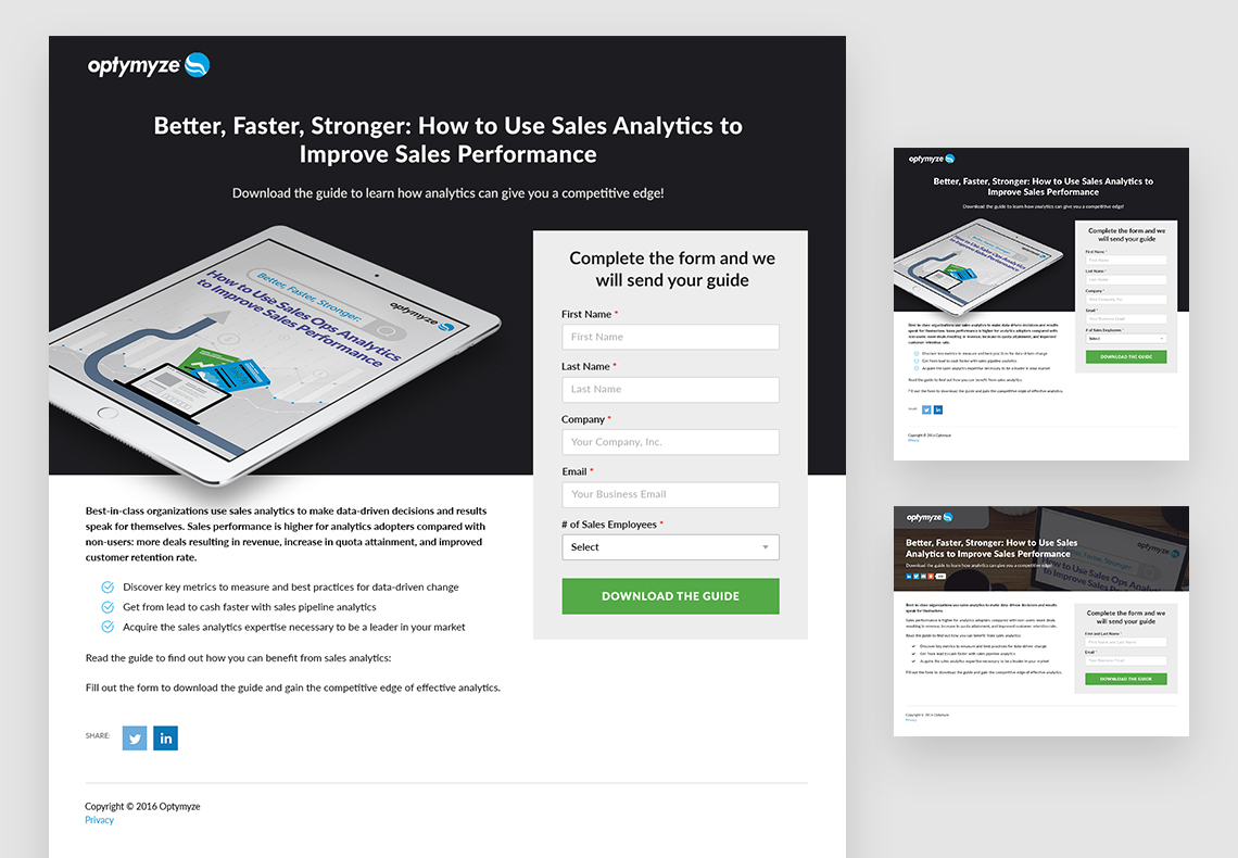 Optymyze landing pages