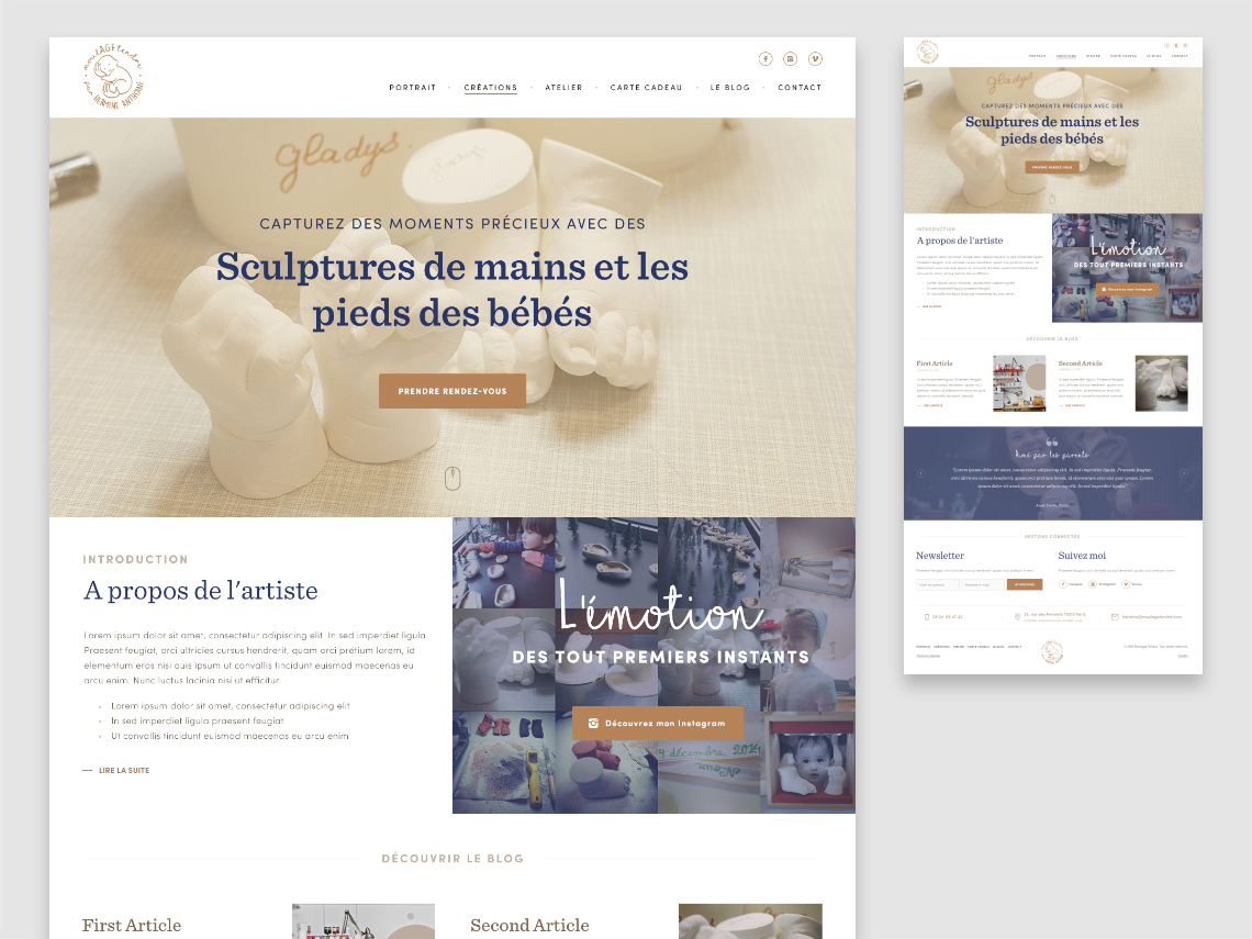 Moulage Tendre, business website for Hermine Anthoine